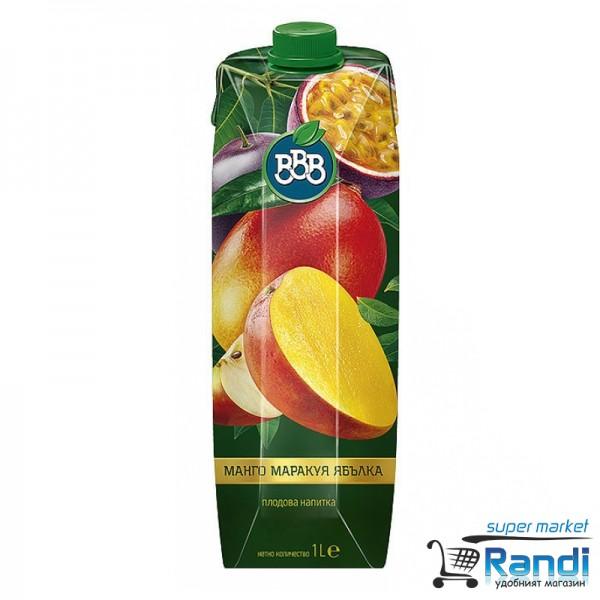 Плодова напитка от манго маракуя ябълка BBB 1л.