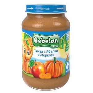 Пюре Тиква с ябълки и моркови без захар 4+месеца Bebelan 190гр.