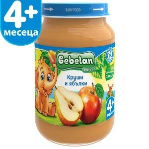 Пюре круши и ябълки без захар 4+месеца Bebelan 190гр.