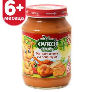Пюре зеленчукува смес с фин заек и пиле 6+месеца Bebelan 190гр.