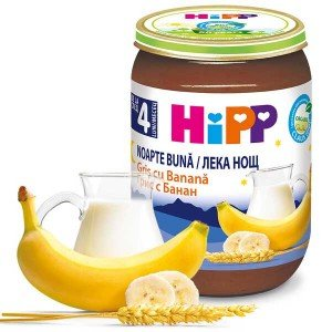 Пюре с био грис и банан без захар лека нощ Hipp 190гр.