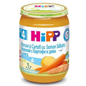 Пюре с моркови и картофи и дива Сьомга без сол Hipp 190гр.