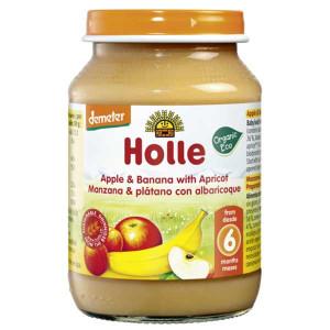 Био пюре Ябълки, Банан и Кайсия за 6 месеца Holle 190гр.