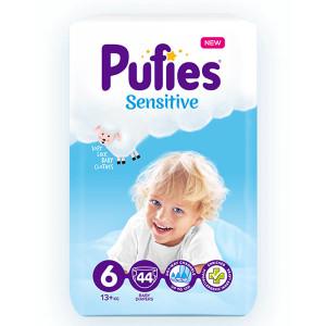 Пелени Pufies 6 Sensitive 13кг.+ 44бр.