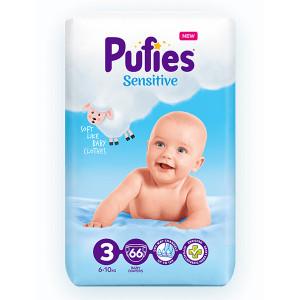 Пелени Pufies 3 Sensitive 6-10кг 66бр.