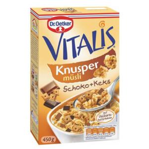 Хрупково мюсли Vitalis шоколад и бисквитки Dr.Oetker 450гр.