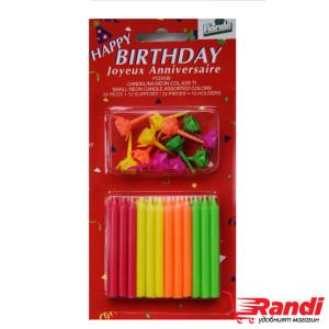 Свещички за рожден ден Неон 24 бр.