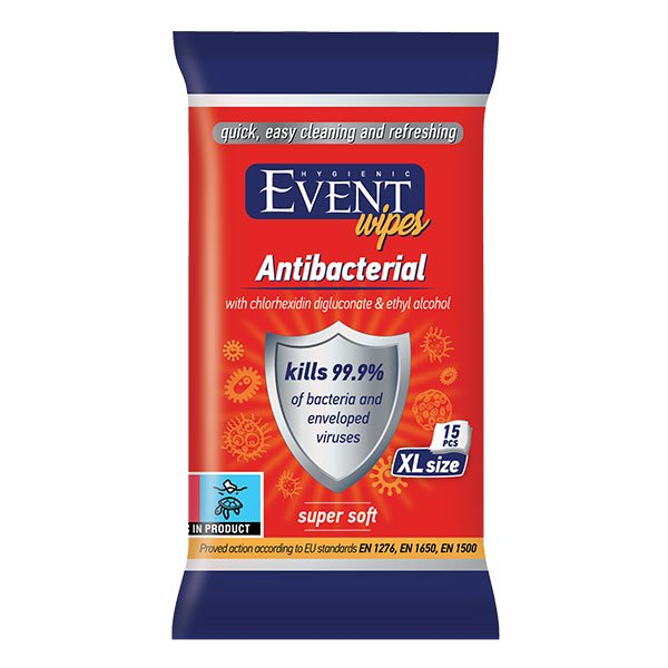 Влажни кърпички Event Antibacterial с алкохол 15бр.