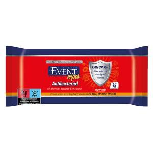Влажни кърпички Event Antibacterial с алкохол 60бр.