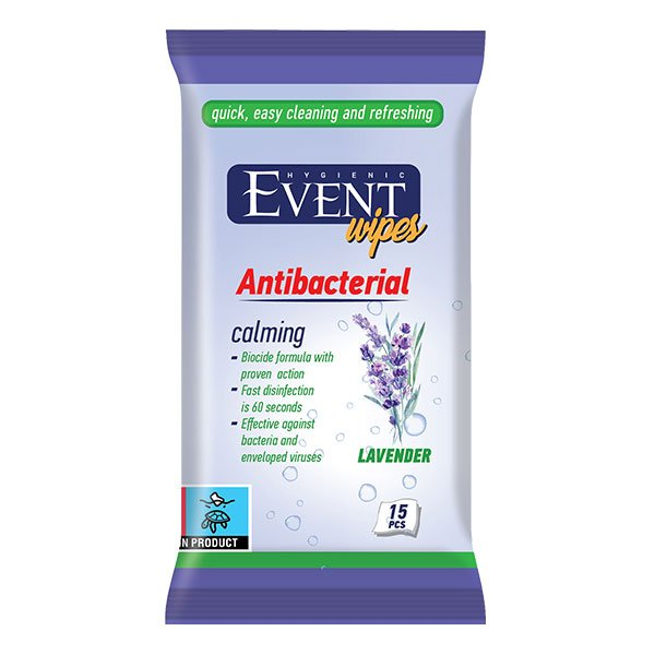 Влажни кърпички Event Antibacterial Лавандула 15бр.