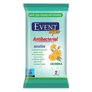 Влажни кърпички Event Antibacterial Невен 15бр.