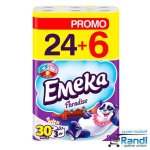 Тоалетна хартия Емека Paradise 24+6 бр.