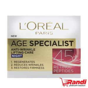 Крем за лице L`Oreal Age Specialist 45+ нощен 50мл.