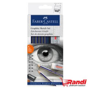 Моливи Faber Castell Комплект 6бр. с острилка и гума