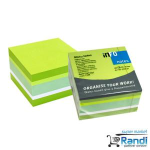 Кубче 450 листчета 75*75мм 5 цвята зелен микс
