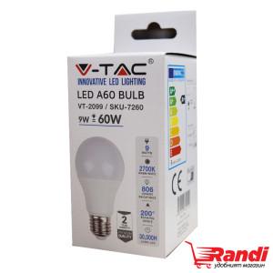 Светодиодна LED крушка V-TAC E27 9w=60w SKU7260
