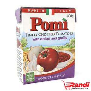 Фино нарязани домати с лук и чесън Pomi 390гр.