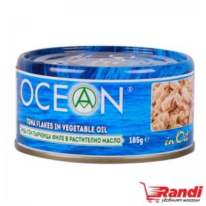 Риба тон парченца филе в растително масло Ocean 185гр.