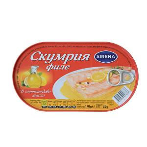 Скумрия филе в слъчогледово масло Sirena 170гр.
