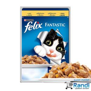 Котешка храна FELIX Fantastic Грил в Желе Пиле 100гр.