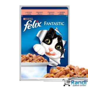 Котешка храна FELIX Fantastic Грил в Желе Сьомга 100гр.