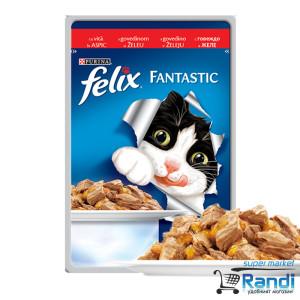 Котешка храна FELIX Fantastic Грил в Желе Говеждо 100гр.