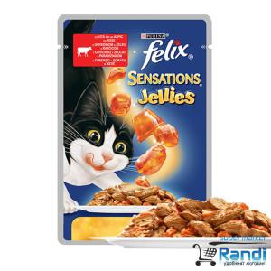 Котешка храна FELIX Sensations с Ароматно Желе Говеждо и Домати 100гр.