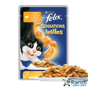 Котешка храна FELIX Sensations с Ароматно Желе Пиле и Моркови 100гр.