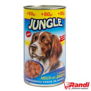 Кучешка храна Jungle с късчета месо от дивеч 1,250кг.