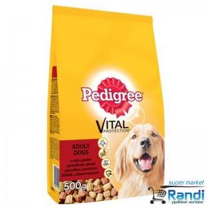 Суха храна за кучета Pedigree dry adult с говеждо и птиче 500гр.