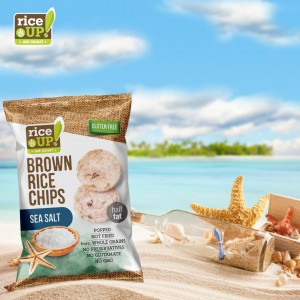 Чипс от кафяв пълнозърнест ориз с вкус на морска сол Rice UP 60гр.
