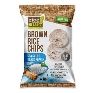 Оризов чипс с морска сол и пипер Rice Up 60 гр.
