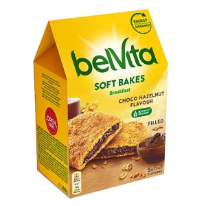 Пълнозърнести бисквити Belvita Soft пълнеж шоколад 250гр.