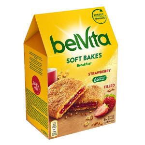 Пълнозърнести бисквити Belvita Soft пълнеж ягода 250гр.