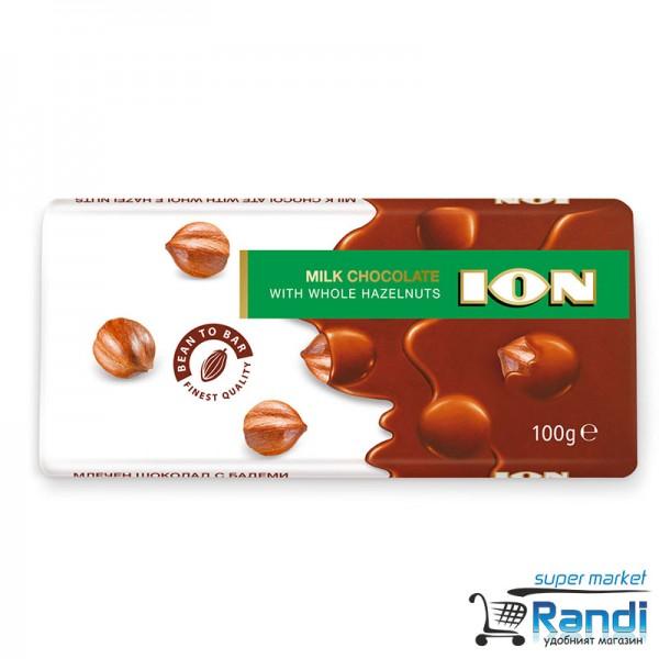 Млечен шоколад ION с цели лешници 100гр.