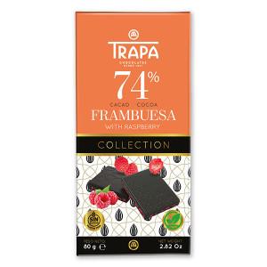 Шоколад тъмен с малини 74% какао Веган Trapa 85гр.