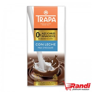 Шоколад млечен без захар Trapa 80гр.