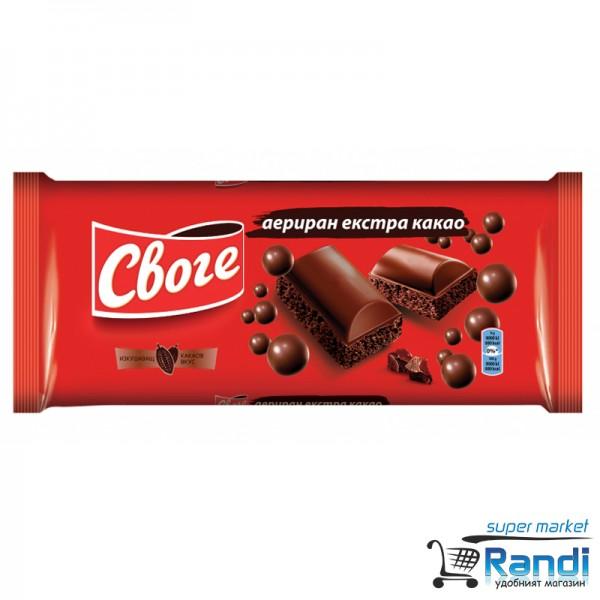 Шоколад Своге аериран екстра какао 80гр.