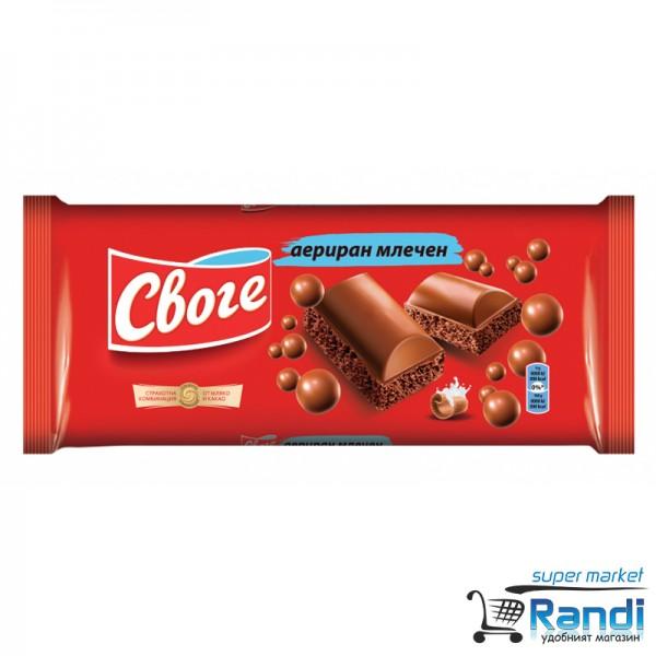 Шоколад Своге аериран млечен 80гр.