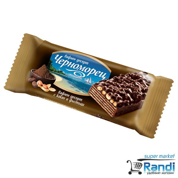 Вафла Черноморец с какао и фъстъци тъмен шоколад 80гр.