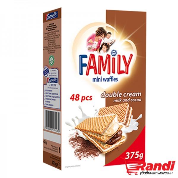 Мини вафли Family с какаов и млечен крем 375гр.