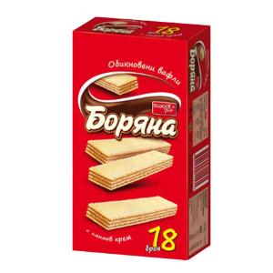 Обикновени вафли с какаов крем Боряна 18бр. 420гр.