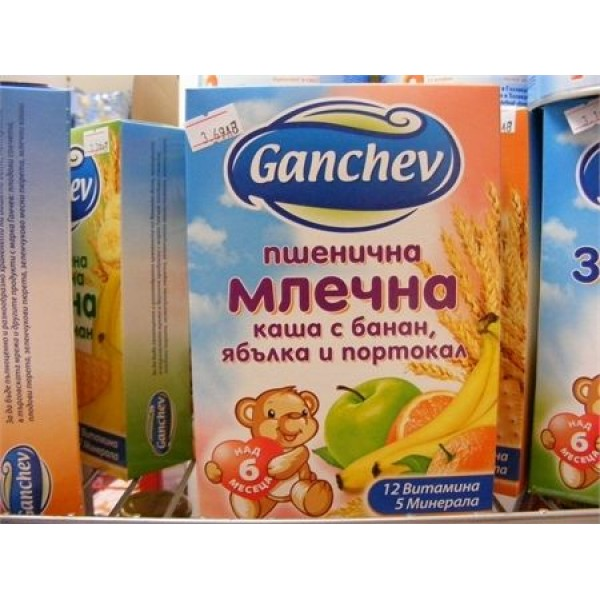Пшенична млечна суха каша с банан, ябълка и портокал Ганчев 200гр. – за деца над 6 месеца