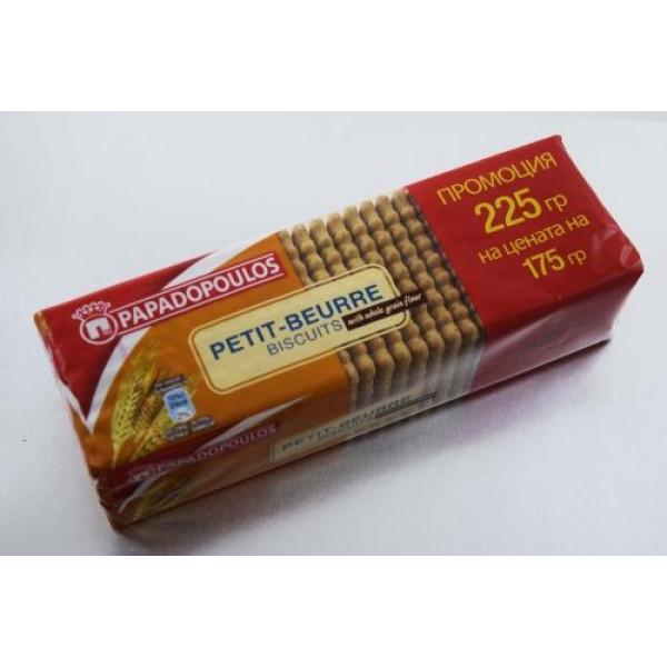 "Бисквити ""Papadopoulos"" petit-beurre пълнозърнести 225гр."