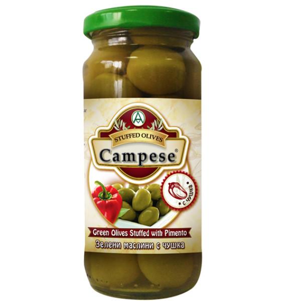 Зелени маслини с чушка Campese 235гр.