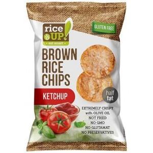 Чипс от кафяв пълнозърнест ориз с вкус на кетчуп Rice UP 60гр.