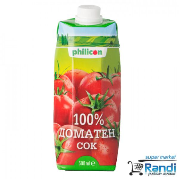 Доматен сок 100% Philicon 500мл.