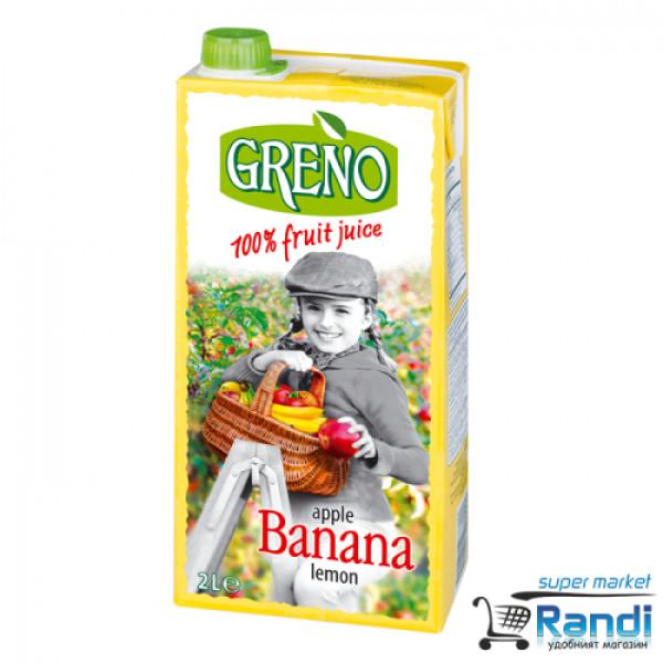 Сок ябълка - банан - лимон Greno 2л. 100%