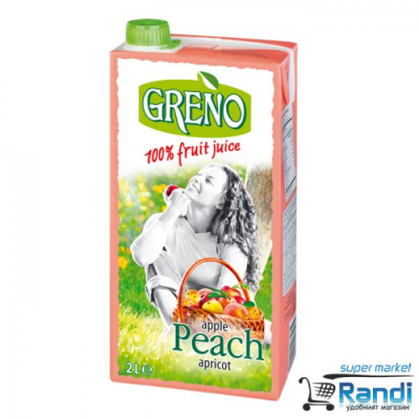 Сок ябълка - праскова - кайсия Greno 2л. 100%