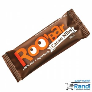 Био суров десерт Roo bar какаови зърна и бадем 30гр.